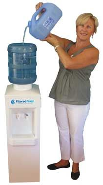Lady refilling water cooler
